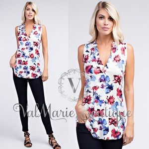 Blue Red Floral Top